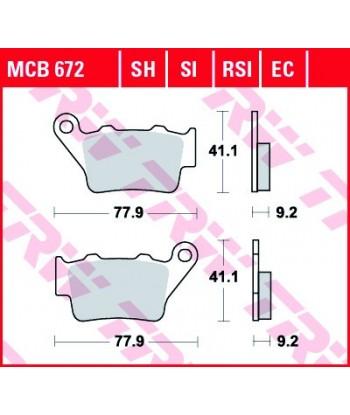 Stabdžių trinkelės MCB672SI