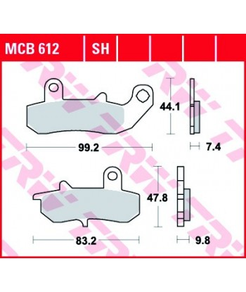 Stabdžių trinkelės MCB612SH