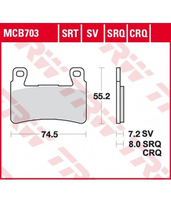 Stabdžių trinkelės MCB703SRT